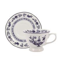 Jogo de Xícaras de Chá Com Pires 12 Peças Cebolinha Schmidt - Porcelana schmidt