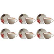 Jogo de Xícaras de Chá Soles 12 Peças - Class Home