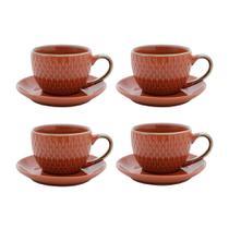 Jogo de xícaras para café em porcelana Bon Gourmet 6 peças 90ml laranja -