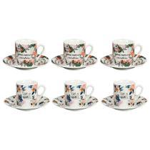 Jogo de xícaras para café em porcelana Dynasty Free Life 90ml 6 peças -
