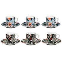 Jogo de xícaras para café em porcelana Dynasty Tecidos 90ml 6 peças -