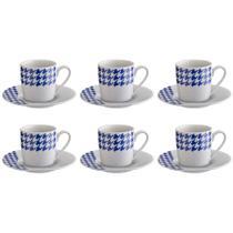 Jogo de xícaras para café em porcelana HausKraft 6 peças azul/branco -