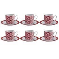 Jogo de xícaras para café porcelana Ricaelle Wave 6 peças - Hauskraft