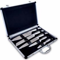 Jogo Facas em Aço Inox 5pçs com Maleta em Alumínio Cozinha Completa - Pontuall