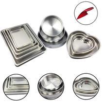 Jogo Forma Bolo Assadeira Retangular Redonda Coração 11 peças - Alumínio Extra Forte