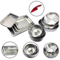 Jogo Forma Bolo Pudim Assadeiras Retangular Redonda 11 peças - Aluminio Extra Forte