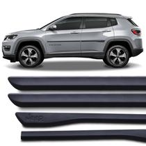 Jogo Friso Lateral Tipo Borrachão Jeep Compass 2017 e 2018 Preto Grafia Modelo Original - Sanfil