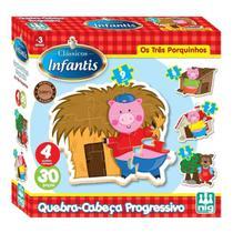 Jogo Infantil Educativo Os Três Porquinhos 30 Peças Nig -