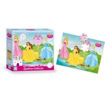 Jogo infantil quebra cabeça lindas princesas 30 peças madeira - Nig