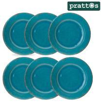 Jogo jantar 6 prato raso 27cm azul turquesa melamina alta qualidade prattos -