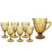 Jogo Jarra 1,1 L 6 Taças Diamond Amarelo Ambar 320ml Água Suco - Dolce Home