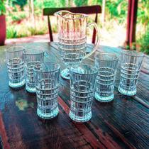 Jogo jarra com 6 copos vidro Ravana DCasa -