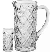 Jogo Jarra/Copos Ecologico 7 peças Cristal Transparente 1L/280Ml Mellione - Nh