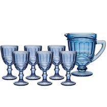 Jogo Jarra Elegance 1 Litro 6 Taças 320ml Azul Água Suco - Haüskraft