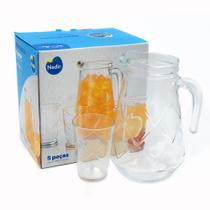 Jogo jarra vidro com 4 copos maracatu Nadir -