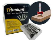 Jogo Kit 5 Brocas Fresas Forstner 15-35mm Madeira Dobradiça - Titanium