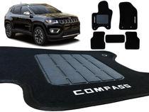 Jogo Kit Tapete Carpete Jeep Compass Preto Bordado Trava 5pç - Tevic