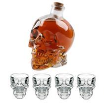 Jogo Licoreira Garrafa e 4 Copos Para Shot em Vidro Transparente Caveira Cranio Bebida Bar - Yazi