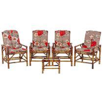 Jogo Mesa 4 Cadeiras de Bambu Cancun Para Area Edicula Jardim G04 - Click Moveis Artesanais