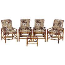 Jogo Mesa 4 Cadeiras de Bambu Cancun Para Area Edicula Jardim G13 - Click Moveis Artesanais
