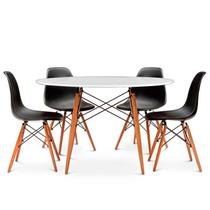 Jogo Mesa 4 Cadeiras Pretas Eames Eiffel 90 Cm Base Madeira Tampo Branco - Up Home