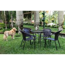 Jogo Mesa Alta 4 Cadeiras Biquine para Area Edicula Jardim, Ferro e Fibra Trama Fechada Pedra Ferro - Click Moveis Artesanais