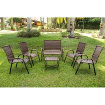 Jogo Mesa de Centro 1 Namoradeira 4 Cadeiras Bela para Area Edicula Jardim, Ferro e Fibra Argila - Click Moveis Artesanais