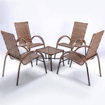Jogo Mesa de Centro 4 Cadeiras Cravo para Area Edicula Jardim, Ferro e Fibra Trama Fechada Argila - Click Moveis Artesanais