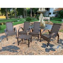 Jogo Mesa de Centro 4 Cadeiras Napoli para Area Edicula Jardim, Ferro e Fibra Trama Fechada Argila - Click Moveis Artesanais