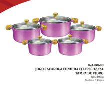 Jogo Panela Caçarola Fundida Eclipse 16/24 Tampa Vidro Cor Rosa Pitaia 5 peças pol - Inga