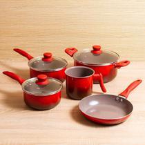 Jogo Panela Ceramic Life Smart 5 Peças Vermelho Brinox -