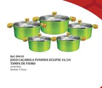 Jogo Panelas Caçarola Fundida Eclipse 16/24 Tampa Vidro Cor Verde Kiwi 5 peças pol - Inga