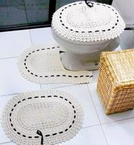 Jogo Para Banheiro 3 Peças Completo de Crochê Com Passa Fita - Casa Pedro