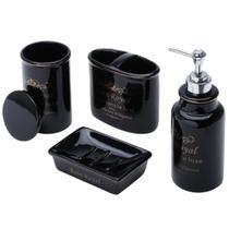Jogo para banheiro cerâmica royal preto prestige -