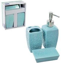 Jogo para banheiro de porcelana lunnar relevo flor com 3 pecas - Wincy -