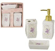 Jogo para banheiro de porcelana quadrado floral decorado flor com 3 pecas - Wellmix