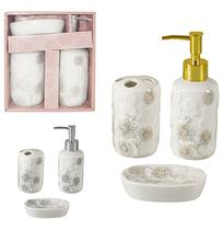 Jogo para banheiro de porcelana redondo decorado flor com 3 pecas - Wellmix