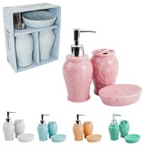 Jogo para banheiro de porcelana relevo flor colors com 3 pecas na caixa - Wellmix