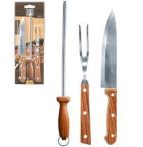 Jogo para churrasco Holz 03 peças - Wellmix -