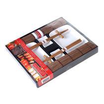 Jogo para comida Japonesa Haüskraft 10 peças para 2 pessoas - marrom com branco - Hauskraft