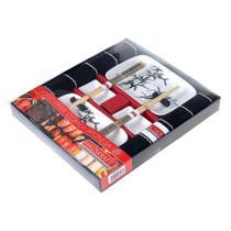 Jogo para comida Japonesa Haüskraft 10 peças para 2 pessoas - preto com branco - Hauskraft