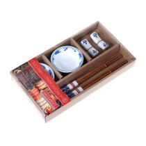 Jogo para comida Japonesa Haüskraft 6 peças para 2 pessoas - branco com azul - Hauskraft