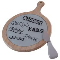 Jogo para queijo madeira c/vidro faca em inox - Dynasty