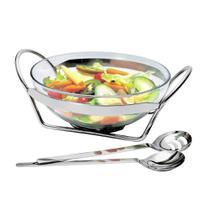 Jogo para salada Linear em inox e vidro 35,5Cm - 13068 - Regent