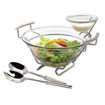 Jogo Para Salada Perle com Suporte em Aço Inox e Vidro, L40xp32,5xa21cm, 4 Peças, Regent -