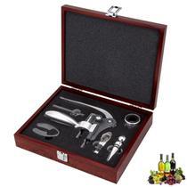 Jogo para Vinho Inox Caixa Luxo em Madeira 7 peças - Uny Gift