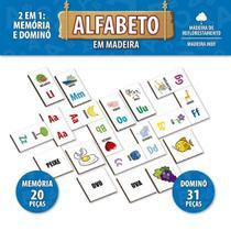 Jogo Pedagógico Alfabeto Dominó E Memória Madeira - Pais E F - Pais E Filhos
