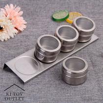 Jogo Porta Condimentos Magnético Inox Tempero 4 peças imã - Dolce Home