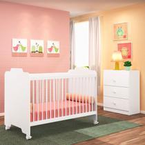 Jogo Quarto de Bebê Cômoda e Berço Ternura Branco - PN Baby -