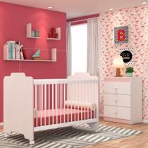 Jogo Quarto de Bebê Cômoda e Berço Ternura Branco/Rosa - PN Baby -